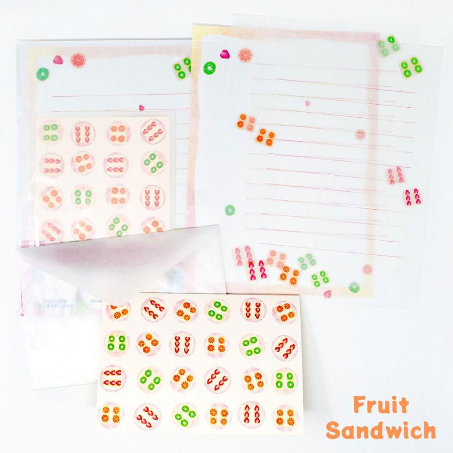 限定生産 グラシンレターセット 喫茶店 クリームソーダ コーヒー サンドイッチ グラシン封筒 便箋 カード|sokana|05