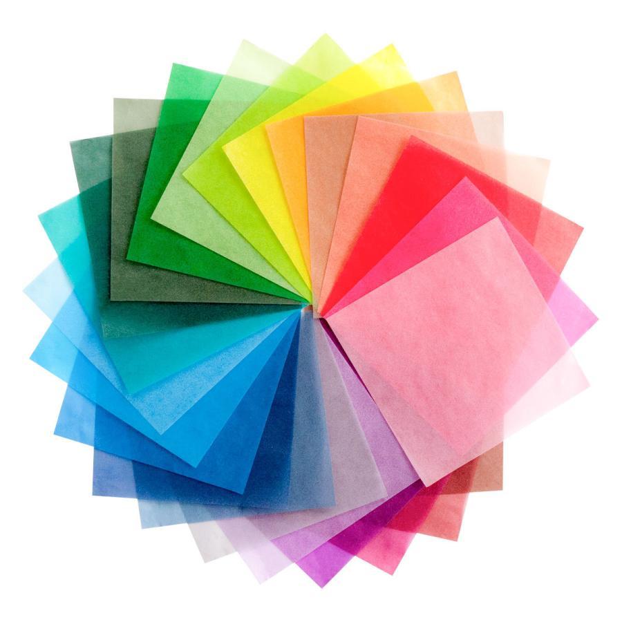 グラシン紙 24色お試しセット 折り紙サイズ 150x150mm 48枚入 24色x各2枚 カラフルな半透明ペーパークラフト紙 ポイント消化 sokana 02