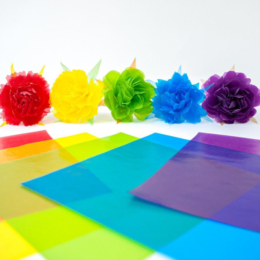 グラシン紙 24色お試しセット 折り紙サイズ 150x150mm 48枚入 24色x各2枚 カラフルな半透明ペーパークラフト紙 ポイント消化 sokana 11