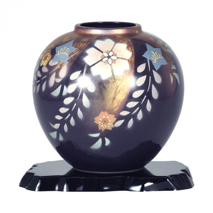 九谷焼 万作作 7号花瓶 花紋 N170-01メーカー直送KO  代引き·ラッピング·キャンセル不可