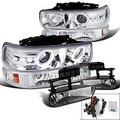 送料無料 Chrome Chevy 銀ado LED Halo Projector Headlights+Bumper Lights+Fog