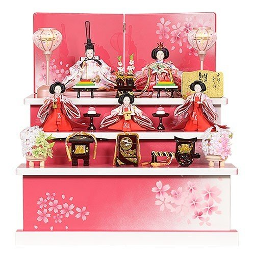 好評 おひなさま 送料無料 初節句 5人飾り ひな人形 収納型 三段 No.304-48 雛人形 お祝い-季節玩具