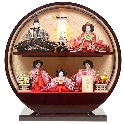 雛人形 No.306-105 変形 丸型 五人飾り 三人官女付き ひな人形 ケース飾り
