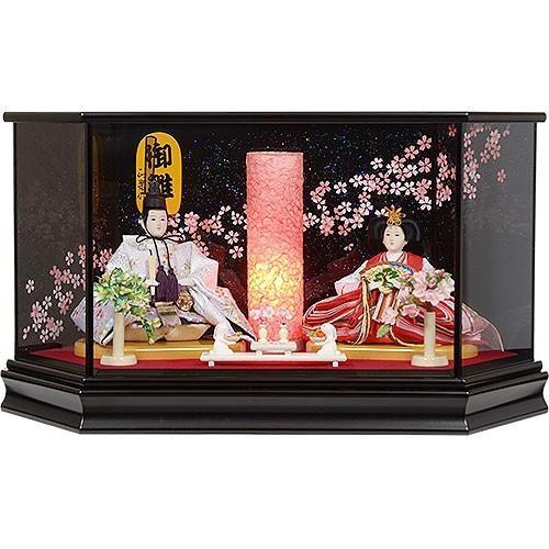 雛人形 No.306-51 ガラスケース入り 親王飾り 黒 六角