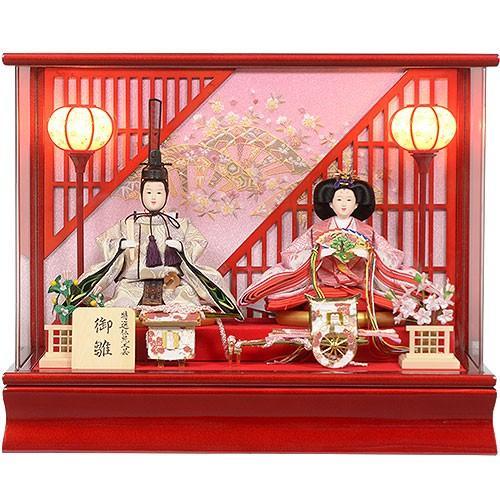 雛人形 No.306-72 ガラスケース入り 親王飾り 白檀塗格子