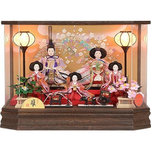 雛人形 No.306-96 六角 アクリルケース 桐 五人飾り ひな人形
