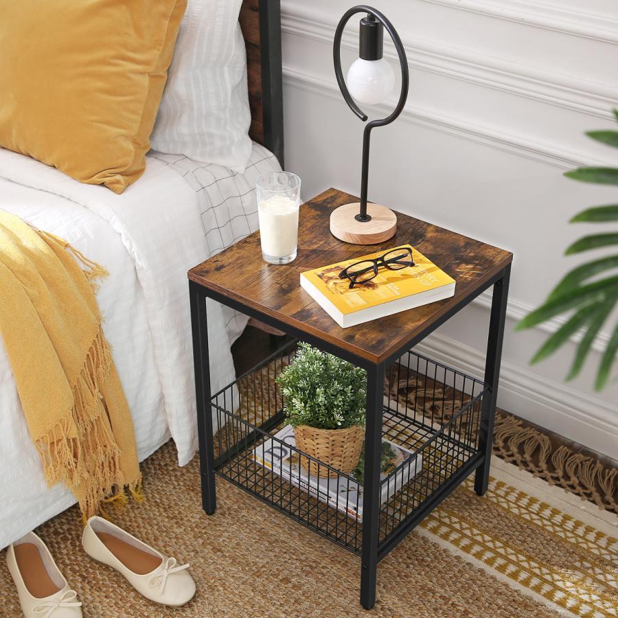 VASAGLEサイドテーブル 北欧 ナイトテーブル テーブル 収納家具 木目調 LET35BX 安心と信頼 天板耐荷重20kg 幅40cm コンパクト マート