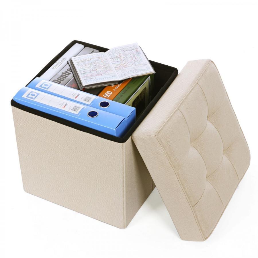SONGMICS 収納スツール 5cm座面クッション 特価キャンペーン ドレッサーチェア 座り心地良い フタ付き お金を節約 角を補強 収納ボックス NLSF10M