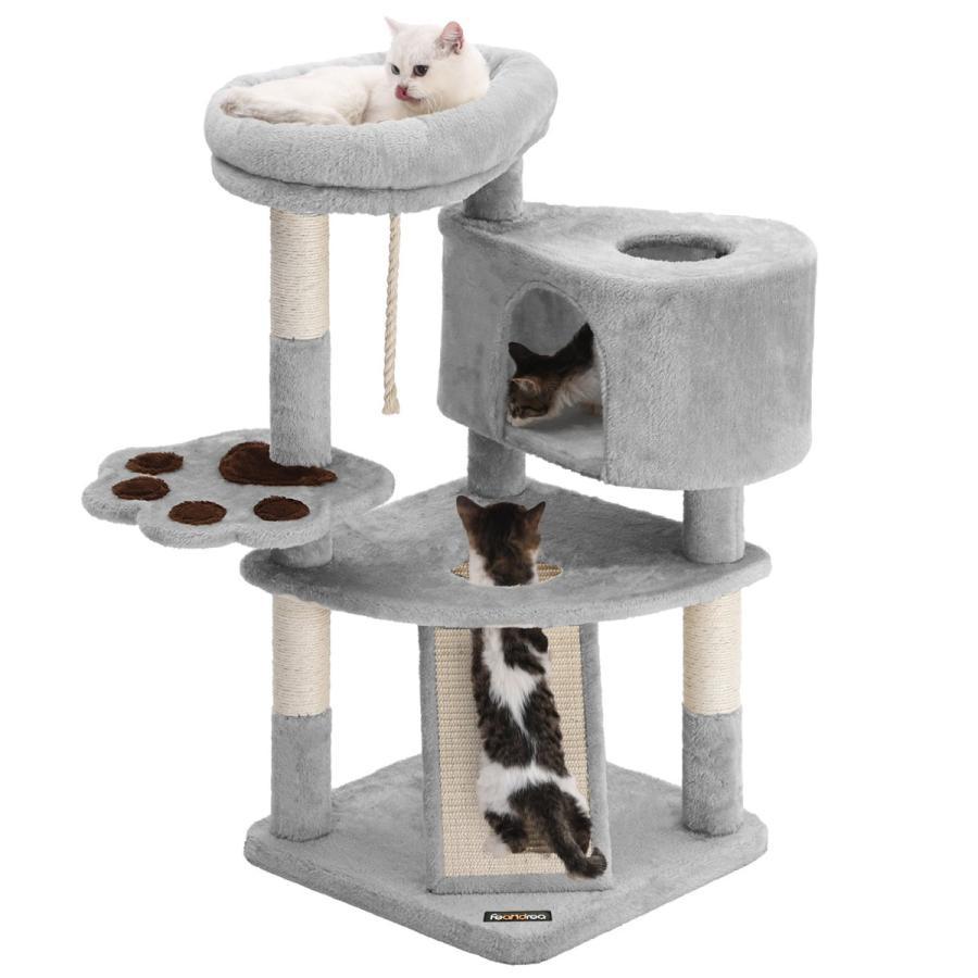 FEANDREA キャットタワー スロープ付き 買取 登り降りしやすい 爪とぎ 子猫とシニアも楽々 NPCT40W NEW売り切れる前に☆ 95cm 猫タワー