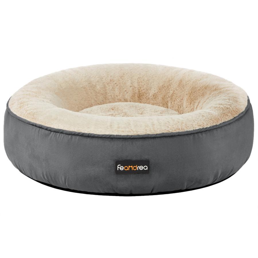 FEANDREA 犬ベッド ふわふわ 猫ベッド 50×50cm 柔らかい オンライン限定商品 滑り止め マット 洗える 中小型犬用 ペット用品 ペットソファ 開店記念セール 可愛いドーナツ型