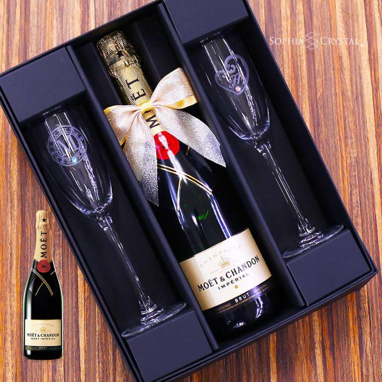 バレンタイン モエ エ シャンドン ワイン ペアグラスセット お酒 名入れ 誕生日 結婚祝 記念品 還暦祝い プレゼント スワロフスキー デコ シャンパン|sophia-crystal