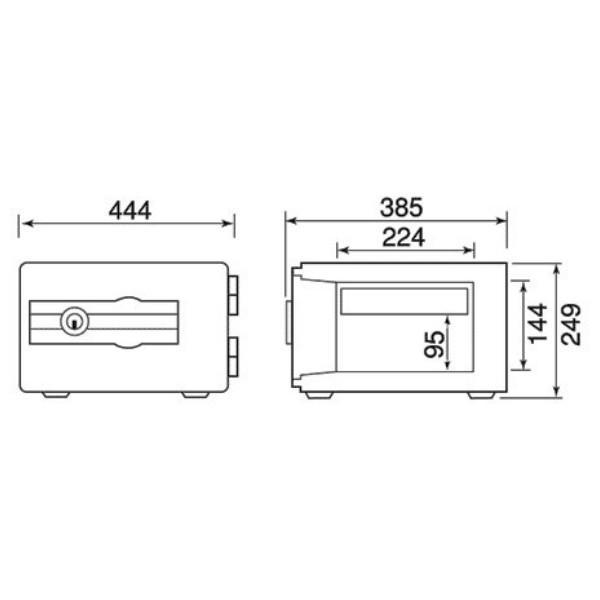 カギ式 小型 耐火金庫 H249×W444×D385 [ダイヤセーフ DS23-K1smtb-tk 軒先渡し|sora-ichiban|02