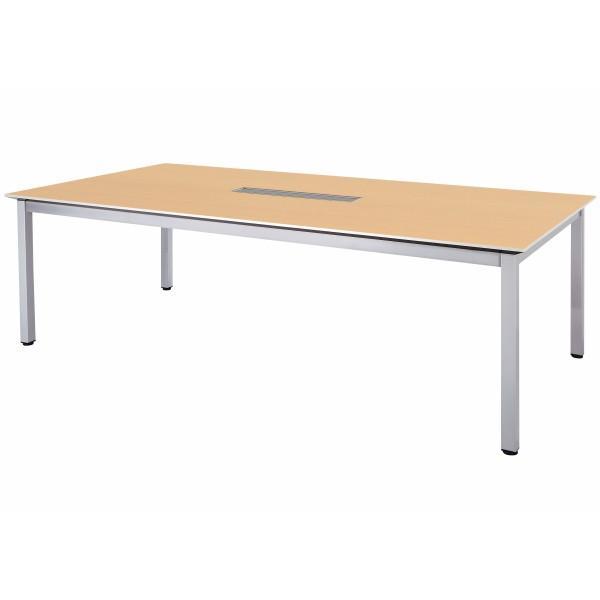 会議テーブル 幅2400×奥行1200×高さ720mm 4本脚 4本脚 ワイヤリングBOXタイプ GAW-2412W 舟底テーパーエッジ 高級会議テーブル 会議テーブル NISHIKI ニシキ工業