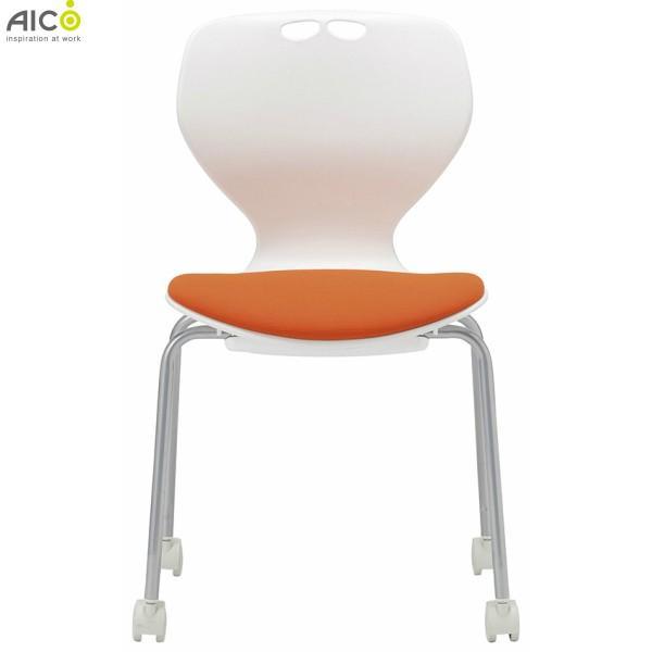 4脚セット ミーティングチェア 肘なし キャスター脚 布/レザー スタッキング 事務椅子 会議チェア オフィスチェア オフィスチェア 業務用 オフィス家具 Aico アイコ 法人限定