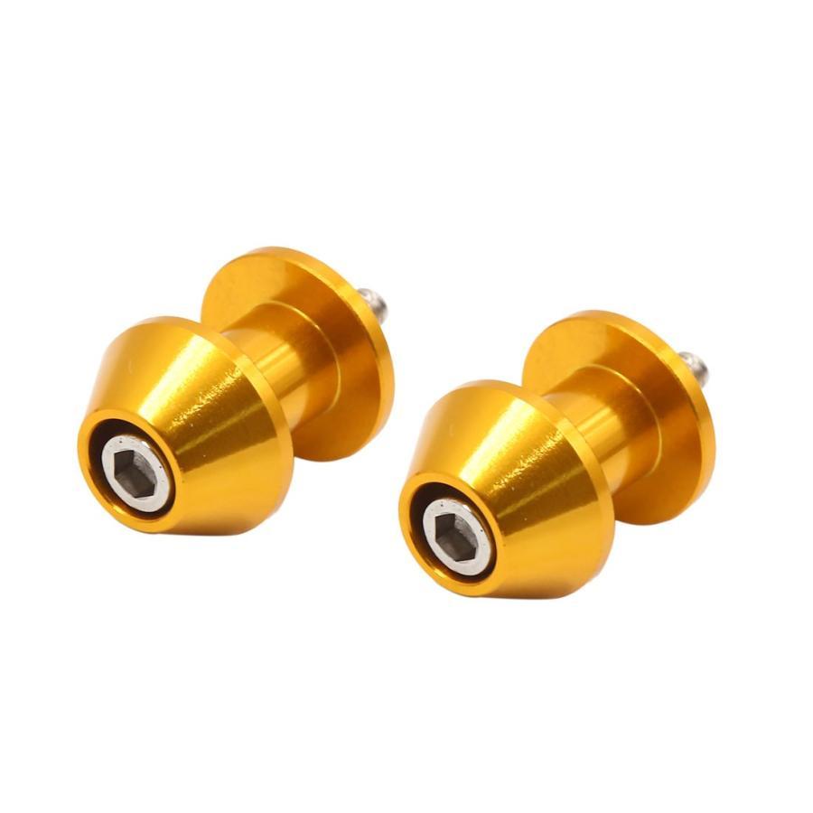 限定タイムセール uxcell オートバイスイングアームスプール リアスタンドボビン 海外並行輸入正規品 ゴールドトーン 2個入り ねじ径6mm