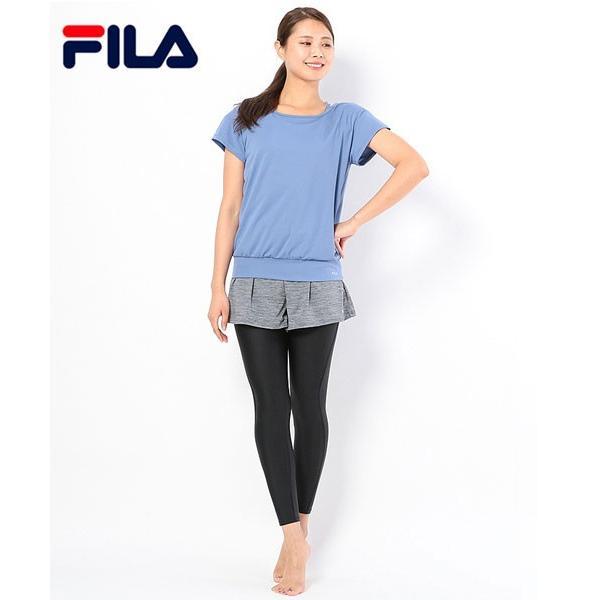 FILA/フィラ/レディース フィットネス水着/無地水陸両用3点セット(Tシャツ+キャミソール+レギンス&フレアーパンツ一体型ボトムス)/348232