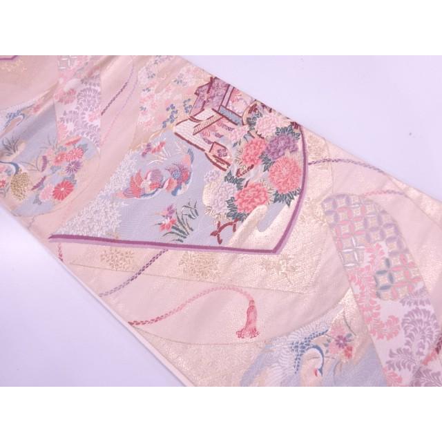 宗sou 御所車に牡丹・鴛鴦模様織出し袋帯【リサイクル】【着】