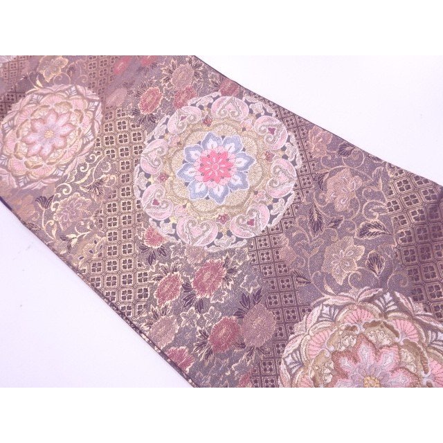 宗sou 華文に草花模様織出し袋帯【リサイクル】【着】