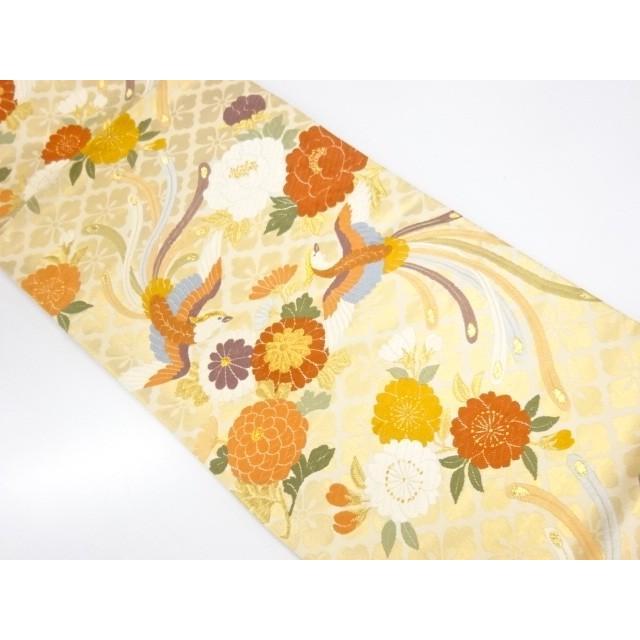 宗sou 未使用品 花鳥模様織出し袋帯(未仕立て)【リサイクル】【着】