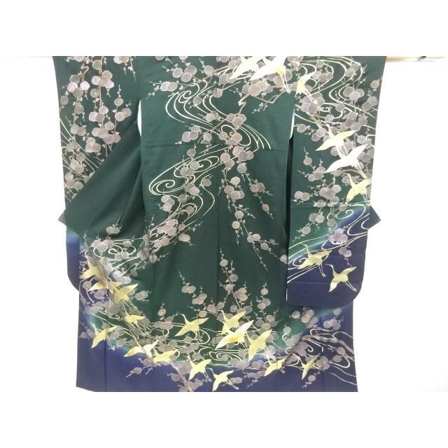 宗sou 箔置枝梅に群鶴模様刺繍振袖・全通袋帯セット【リサイクル】【着】