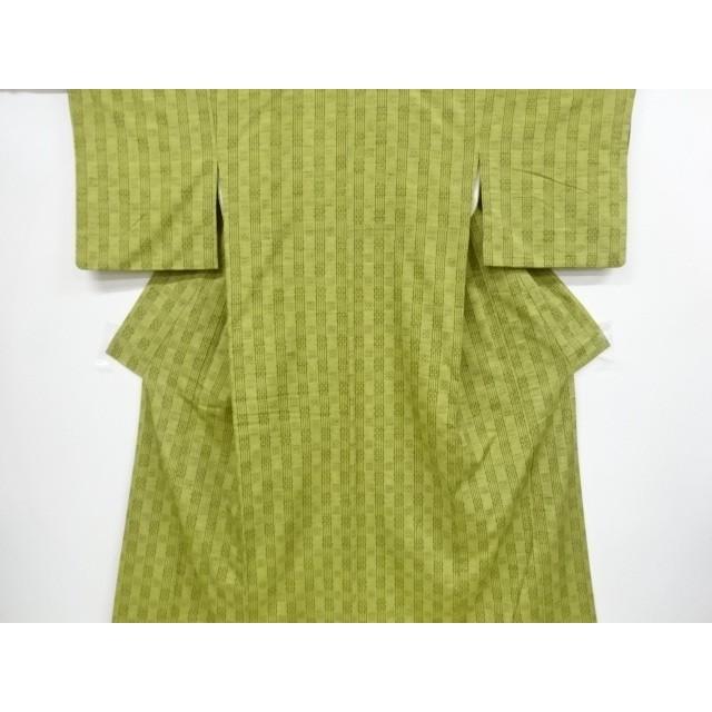 宗sou 花織縞に抽象模様織り出し手織り真綿紬着物【リサイクル】【着】