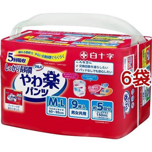 サルバ やわ楽パンツ しっかり長時間 男女共用 M-Lサイズ 5回吸収 ( 9枚入*6袋セット )/ サルバ|soukai