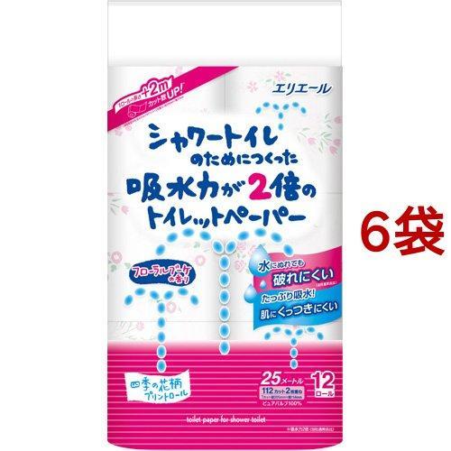 エリエール シャワートイレのためにつくった吸水力2倍のトイレットペーパー 花柄 ( 12ロール*6袋セット )/ エリエール|soukai