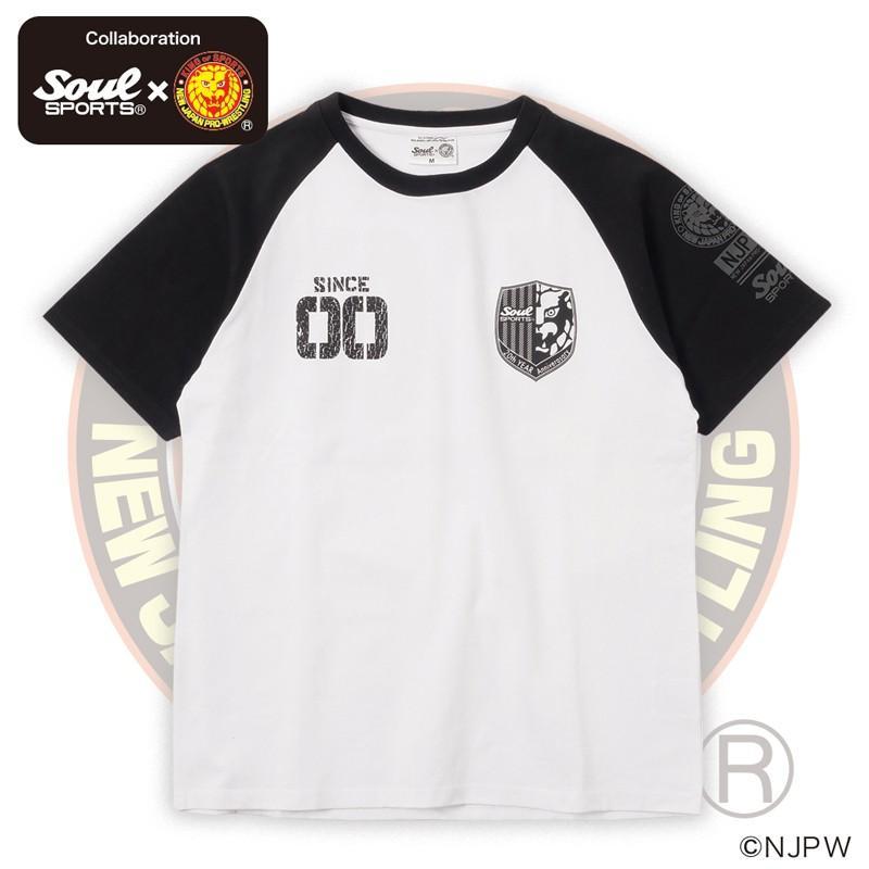 新日本プロレス×SOUL SPORTSコラボ 20th記念ラグラン半袖Tシャツ ブラック×ホワイト 2019新作 soul-sports 04