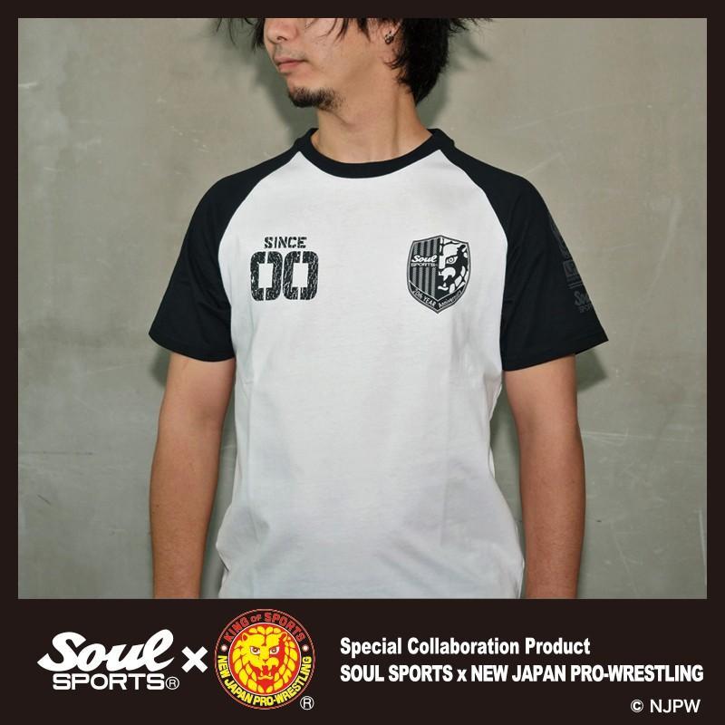 新日本プロレス×SOUL SPORTSコラボ 20th記念ラグラン半袖Tシャツ ブラック×ホワイト 2019新作 soul-sports 08