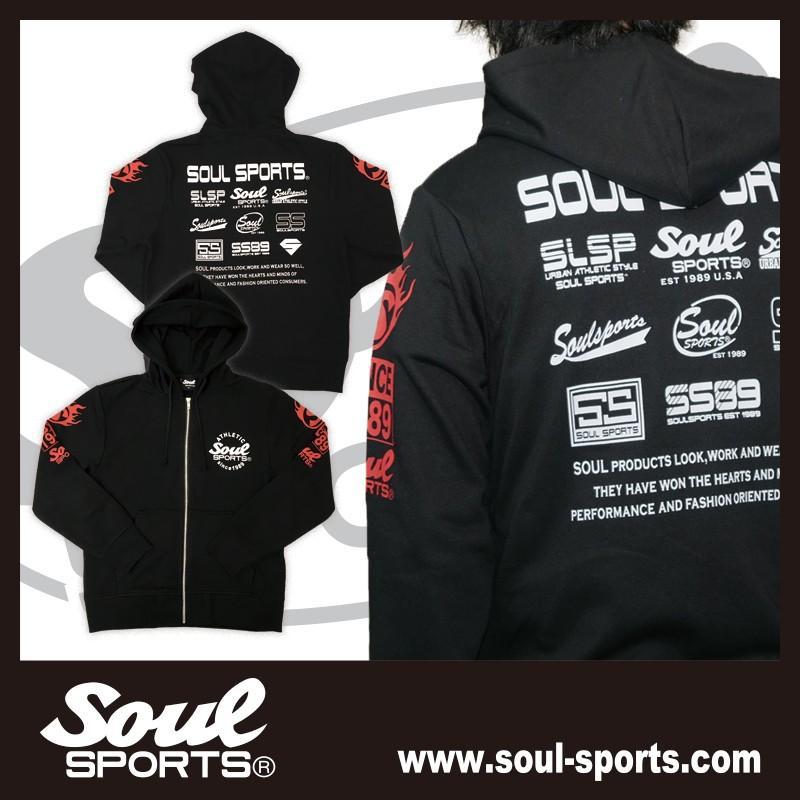 SOUL SPORTSオリジナル 集合ロゴジップパーカ ブラック 2018新作 soul-sports