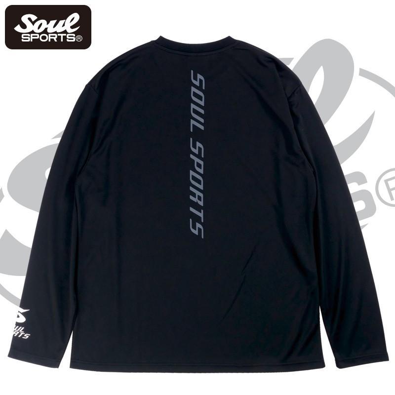 【SOUL SPORTS オリジナル】ソウルスポーツ 「S」マーク 反射ロゴ ドライ素材 長袖Tシャツ ブラック 2019新作|soul-sports|04