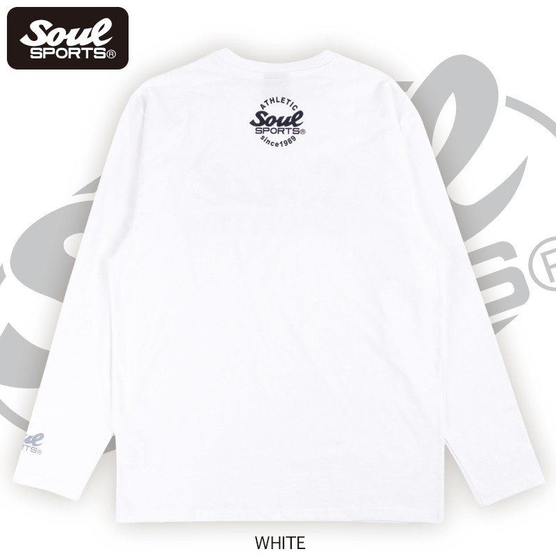 【SOUL SPORTS オリジナル】モノクロオーセンティックロゴ 長袖Tシャツ コットン100% ホワイト/ブラック 2019新作|soul-sports|06