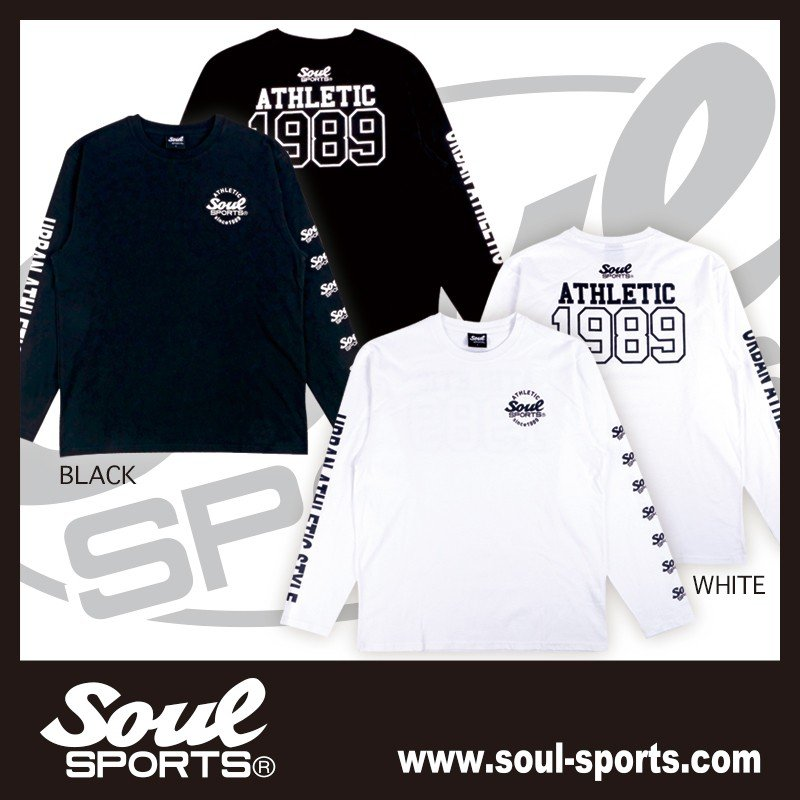 【SOUL SPORTS オリジナル】ナンバリングATHLETICロゴ 長袖Tシャツ コットン100% ホワイト/ブラック 2019新作|soul-sports|02