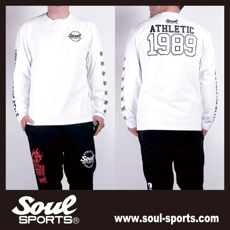 【SOUL SPORTS オリジナル】ナンバリングATHLETICロゴ 長袖Tシャツ コットン100% ホワイト/ブラック 2019新作|soul-sports|11