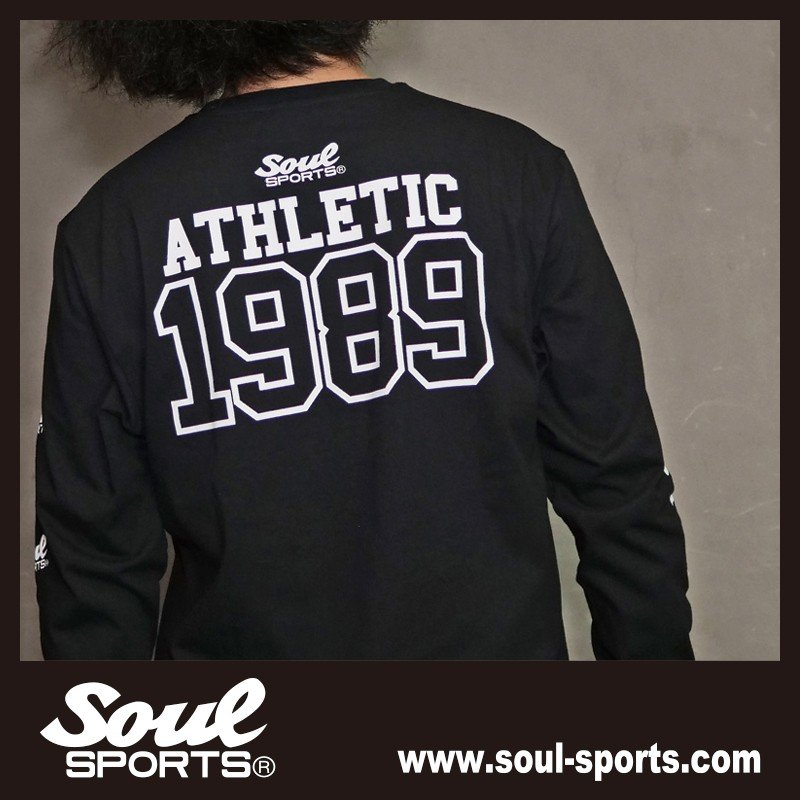 【SOUL SPORTS オリジナル】ナンバリングATHLETICロゴ 長袖Tシャツ コットン100% ホワイト/ブラック 2019新作|soul-sports|18