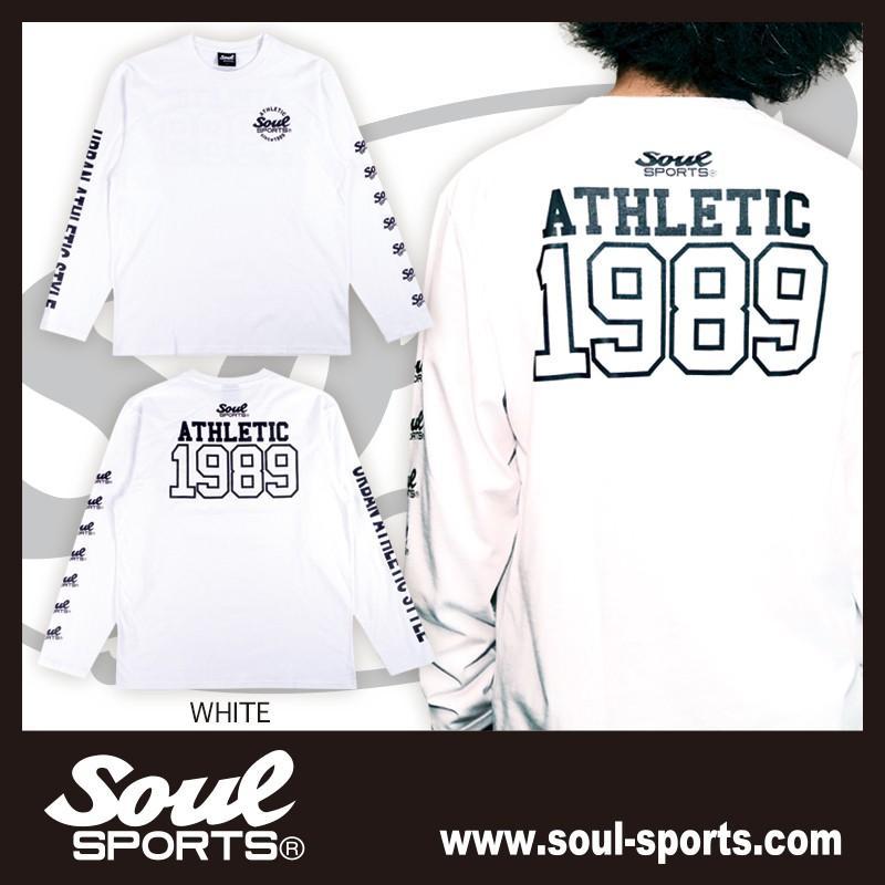 【SOUL SPORTS オリジナル】ナンバリングATHLETICロゴ 長袖Tシャツ コットン100% ホワイト/ブラック 2019新作|soul-sports|03