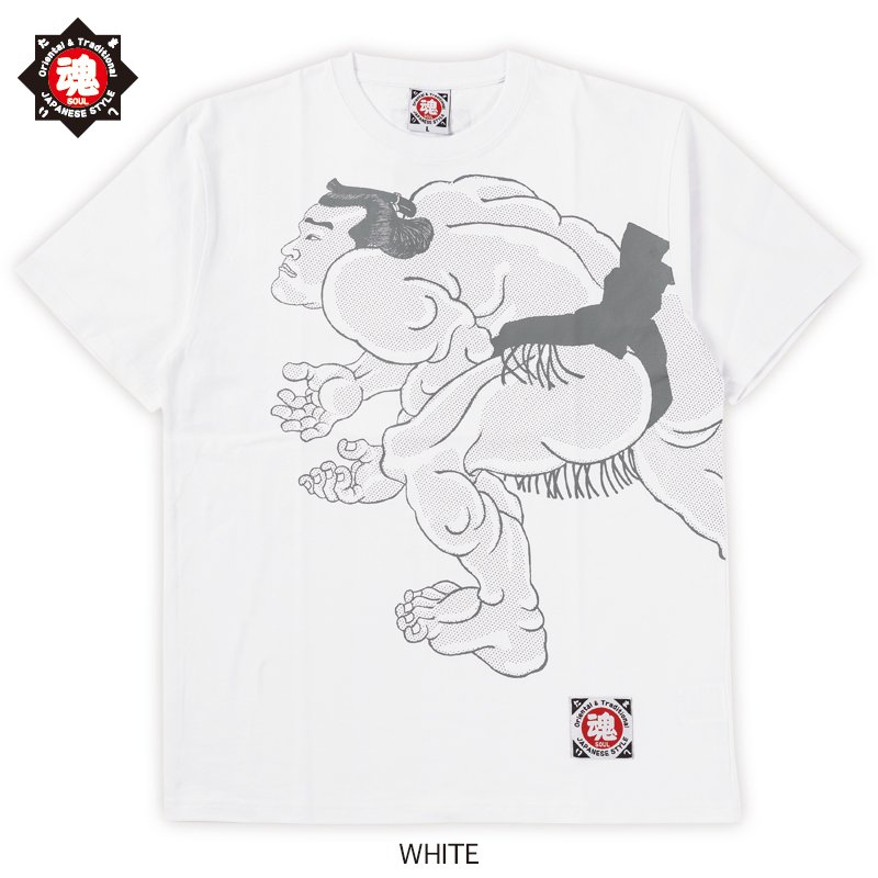 【魂】たましい soul 和柄 漢字 相撲 浮世絵 錦絵 荒馬 柄 半袖Tシャツ コットン100% ホワイト/ブラック 2020新作|soul-sports|03