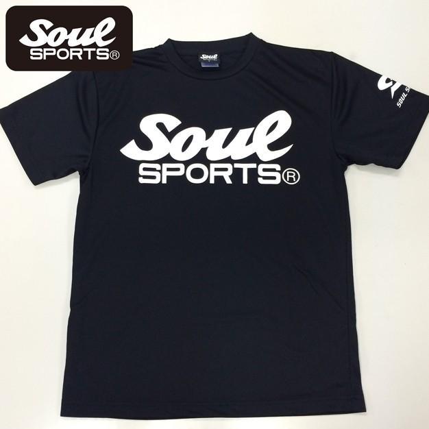SOUL SPORTSオリジナル SOULロゴ ドライ半袖Tシャツ ブラック soul-sports