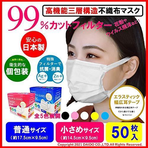 COLORFUL GUARD(カラフルガード) ダブルメタルイオンマスク エラスティック ワイド耳テープ 個包装 50枚入り 日本製 高機能 抗菌 防 south-wave-japan 02