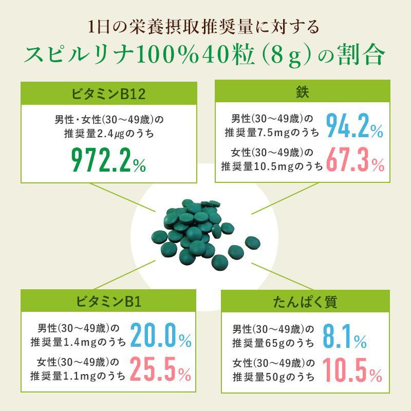 スピルリナ100% 2400粒 約2ヶ月分 野菜不足 偏食 スーパーフード アルカリ性食品 タンパク質の多い食品 sp100 11