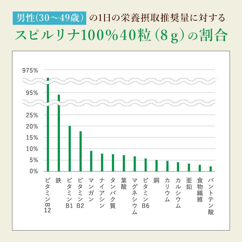 スピルリナ100% 2400粒 約2ヶ月分 野菜不足 偏食 スーパーフード アルカリ性食品 タンパク質の多い食品 sp100 12