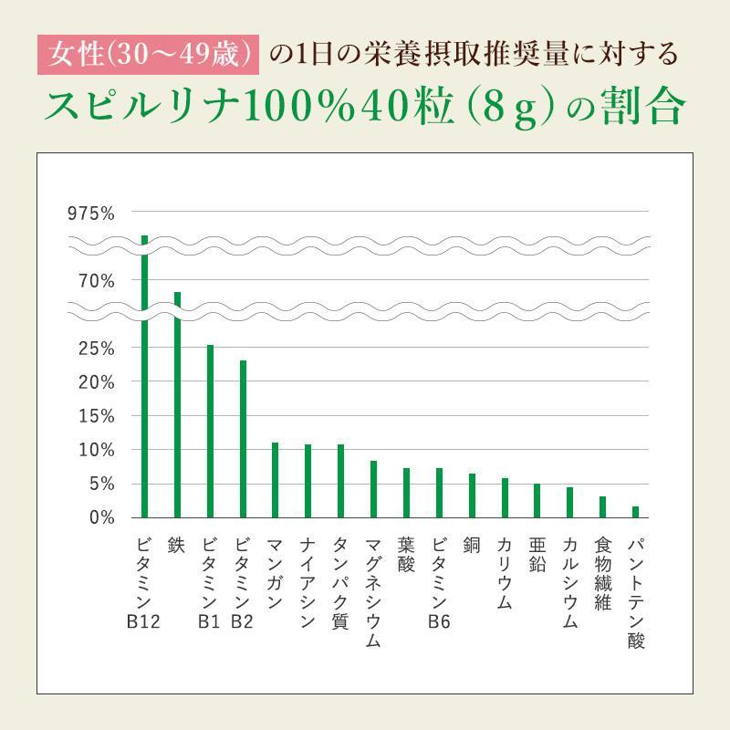 スピルリナ100% 2400粒 約2ヶ月分 野菜不足 偏食 スーパーフード アルカリ性食品 タンパク質の多い食品 sp100 13