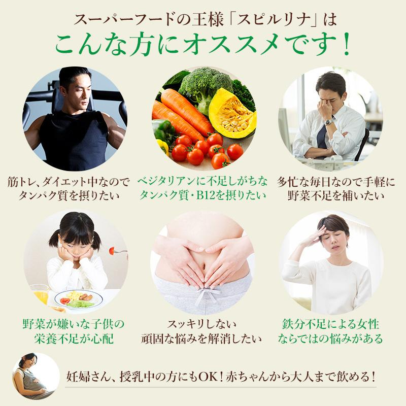 スピルリナ100% 2400粒 約2ヶ月分 野菜不足 偏食 スーパーフード アルカリ性食品 タンパク質の多い食品 sp100 03