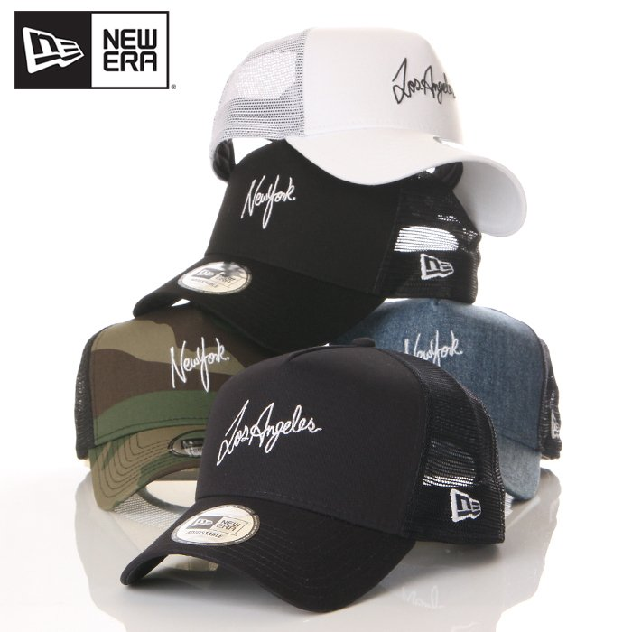 ニューエラ メッシュキャップ 帽子 メンズ レディース キャップ NEW ERA NY LA スナップバック CAP ニューヨーク ロサンゼルス ブランド 黒 紺 デニム 迷彩 白|spark