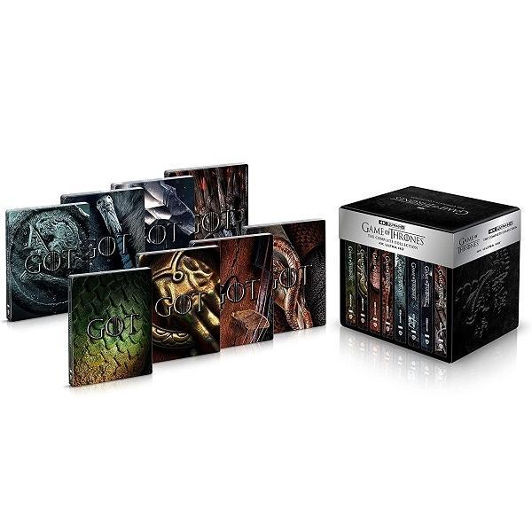 【新品】【即納】ビジュアルカード8枚セット付 (300セット限定)デラックスメタルケース仕様 ゲーム·オブ·スローンズ(第一章~最終章)4K コンプリート Blu-ray