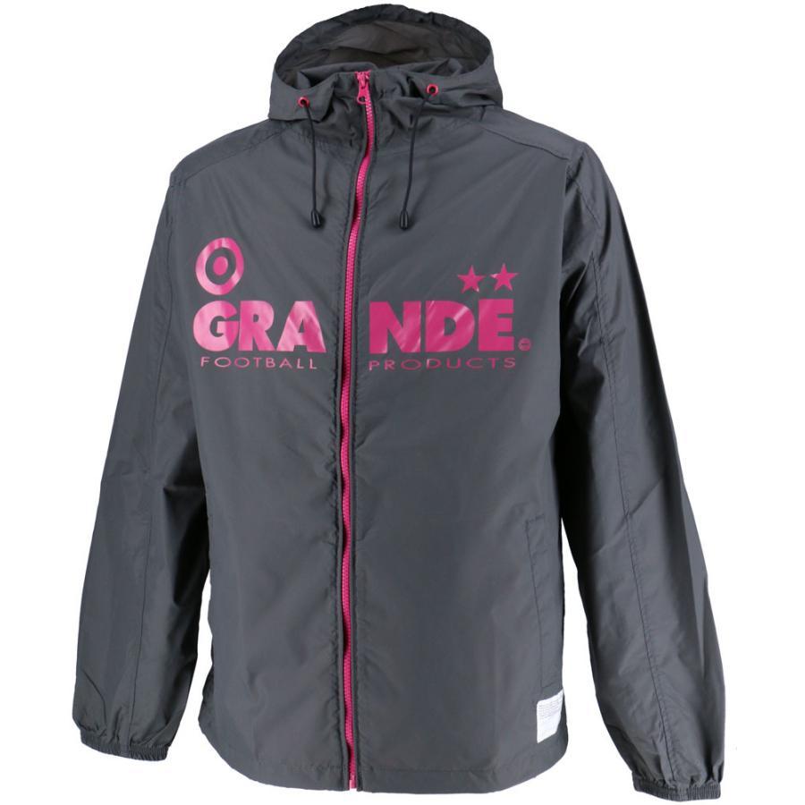 GRANDE(グランデ) (メンズ サッカー・フットサルウェア) BASIC NYLON HOOD ZIPジャケット GFPE205001 GRY/PNK