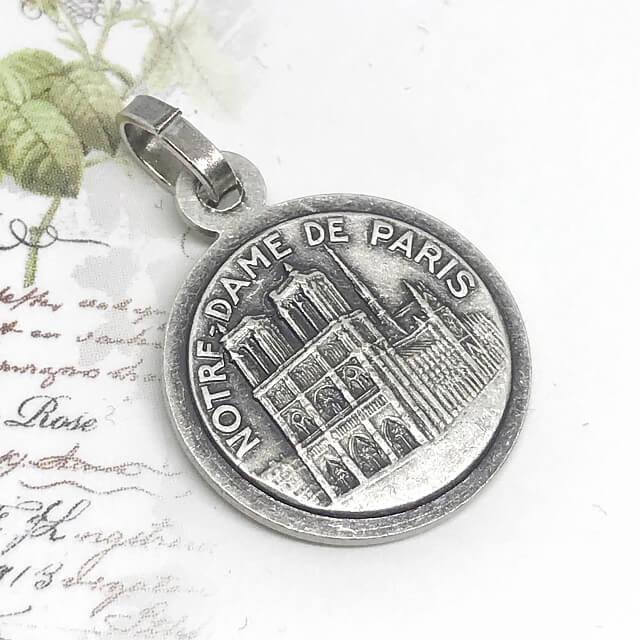 ラファエロの頬杖天使とノートルダム大聖堂のメダイユ フランス教会正規品 エンジェル ペンダント トップ ヘッド メダル ゴールド ネックレス spica-france 06