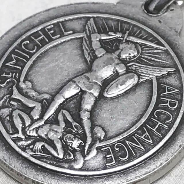 ジャンヌダルクと大天使ミカエルのメダイユ フランス教会正規品  ペンダント トップ ヘッド メダル シルバー ネックレス|spica-france|06