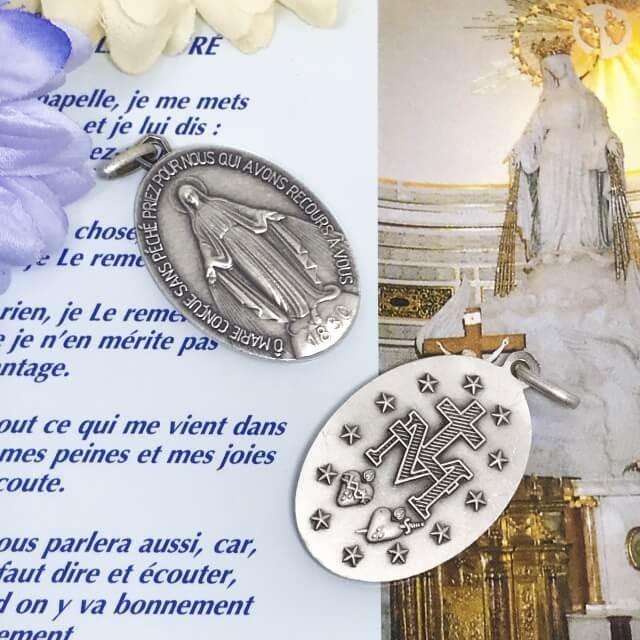 XLサイズ 銀色 不思議のメダイ パリ奇跡のメダイユ教会正規品 フランス製 本物 聖母 マリア ペンダント トップ ヘッド メダル シルバー ネックレス spica-france 02