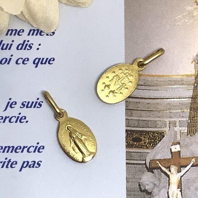 Sサイズ 合金 金色 不思議のメダイ パリ奇跡のメダイユ教会正規品 フランス製 本物 聖母 マリア ペンダント トップ メダル ゴールド ネックレス|spica-france|02